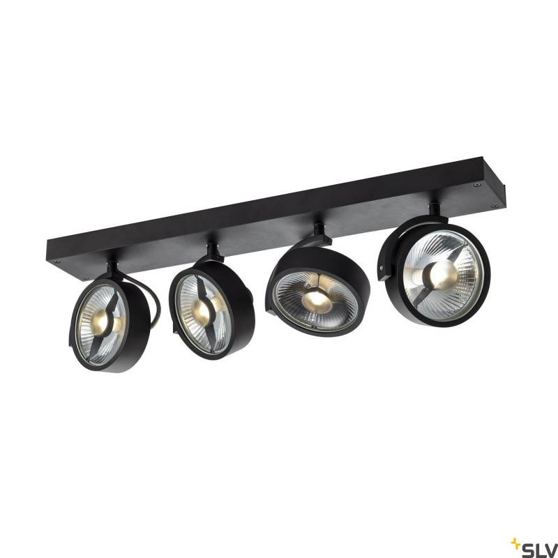 Intalite 1002023I KALU CW, indoor surface-mounted wall and ceiling light, quad, QPAR111 black 4x75W