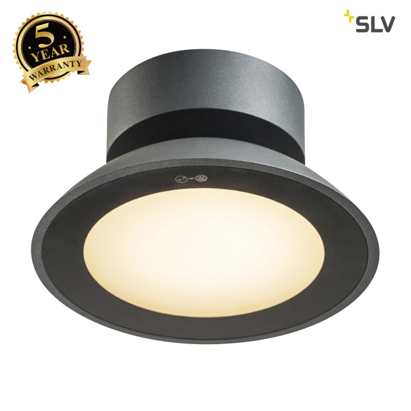 Intalite 1002157I MALU CL, LED Outdoor surface-mounted ceiling light, anthracite, IP44, 3000K