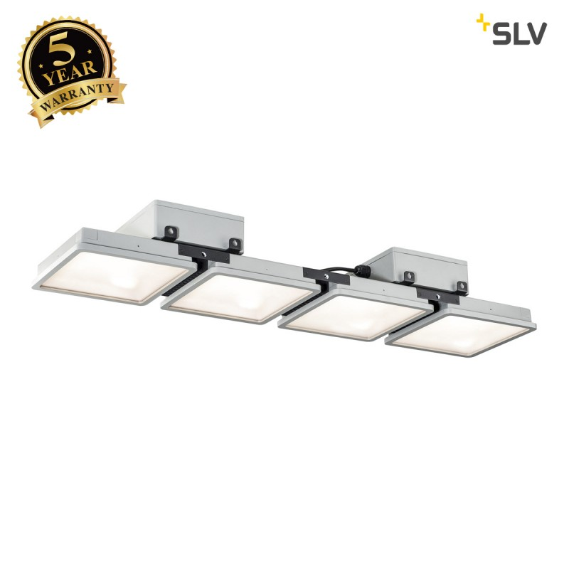 Intalite 1002194I ALMINO PD, quad, LED outdoor surface-mounted ceiling light, UGR<19, grey IP65 4000K