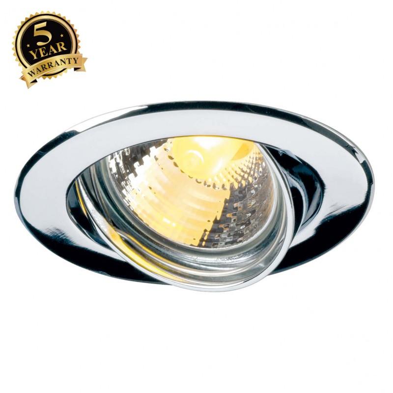 SLV 116112 GU10 SP downlight, round,chrome, max. 50W