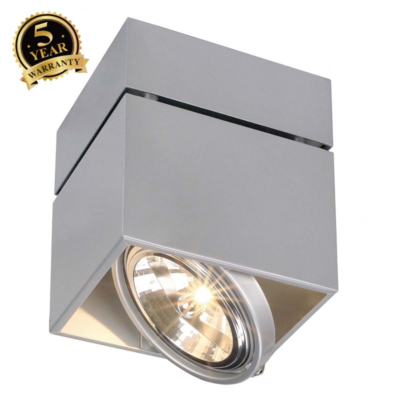 SLV 117124 KARDAMOD SURFACE SQUARE QRBSINGLE ceiling light, square,silver-grey, max. 50W